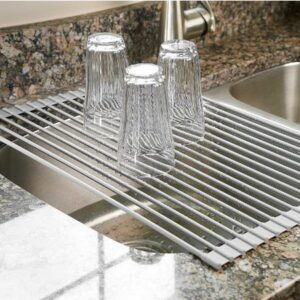 10. Surpahs Over The Sink Multipurpose Roll-Up Dish Drying Rack