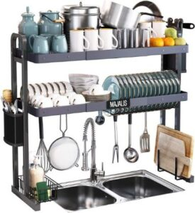 Majalish Over The Sink Dish Drying Rack, Majalis Stainless Steel 2 Tier Large Dish Drainer