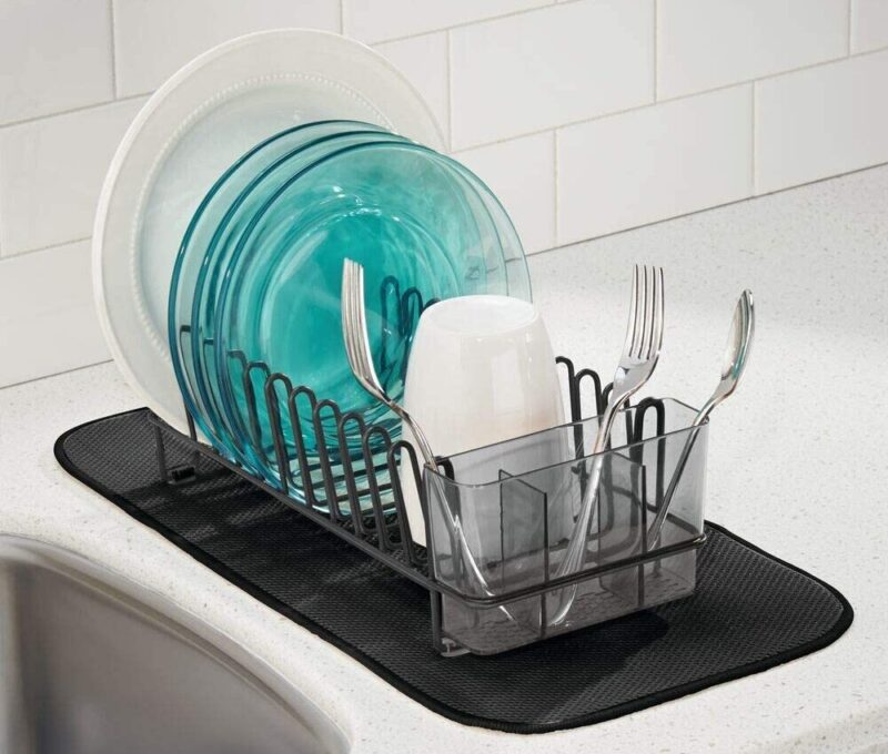 mDesign Compact Dish Rack and Microfiber Mat Set