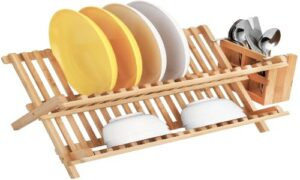 HBlife Bamboo Folding 2-Tier Collapsible Drainer Dish Drying