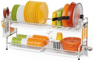 F-color Dish Drying Rack, F-color Large 2 Tier Dish Rack