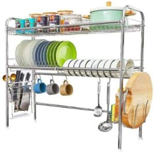 HEOMU Over The Sink Dish Drying Rack,2-Tier