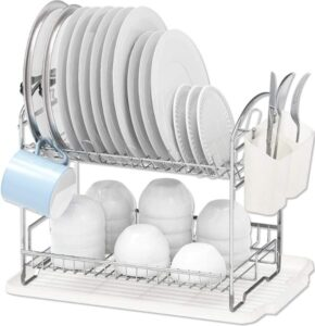 Simple Houseware 2-Tier Dish Rack with Drainboard