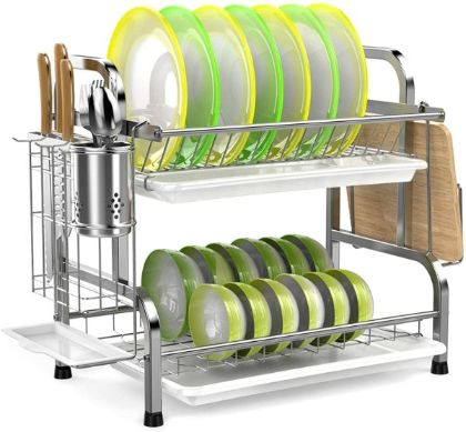 iSPECLE 304 Stainless Steel 2-Tier Dish Rack